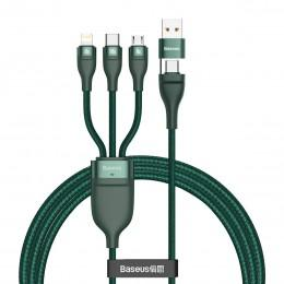 Кабель для зарядки Type-C, Lightning, MicroUSB 100W 1.2m Baseus Flash Series Data Cable зеленый CA2T3-06