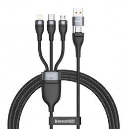 Кабель для зарядки Type-C, Lightning, MicroUSB 100W 1.2m Baseus Flash Series Data Cable черный CA2T3-G1