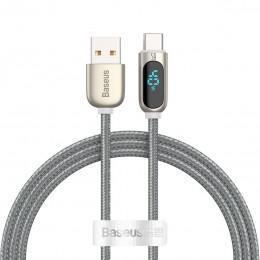 Кабель USB - Type-C с индикацией потребления 40W 1m Baseus Display Fast Charging серебристый CATSK-0S