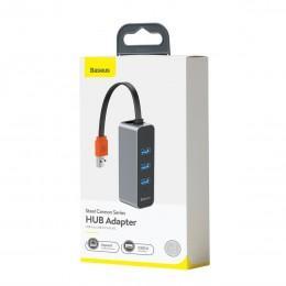 Переходник с USB на 3 USB и Ethernet для ноутбуков Baseus Steel Cannon Series HUB Adapter CAHUB-AH0G