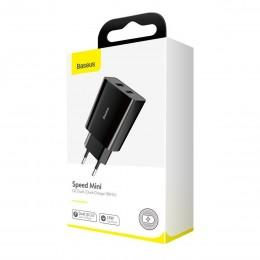 Быстрая зарядка для Samsung, iPhone Baseus Speed Mini QC Dual U Quick Charger 18W Black CCFS-V01