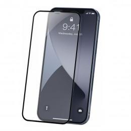 Защитное противоударное стекло для iPhone 12 Pro Max с черной окантовкой