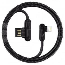 """USB кабель Lightning в оплётке, провод 2.4A с """"Г"""" образными разъемами"""