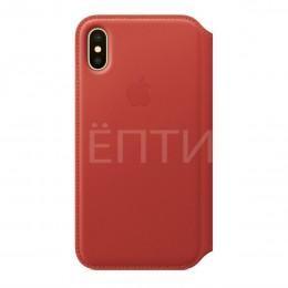 Кожаный чехол - книжка с отделениями для карт и визиток для iPhone X красный