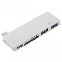 """Адаптер Deppa 5 в 1 с USB-C на MicroSD, SD, USB 3.0 для MacBook 12"""" 2015 / 2016 серебристый"""