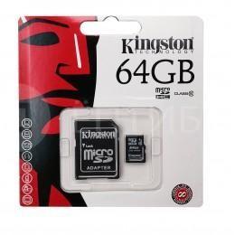 Карта памяти Kingston для камер, телефонов, планшетов 64 ГБ 10 Class MicroSDHC