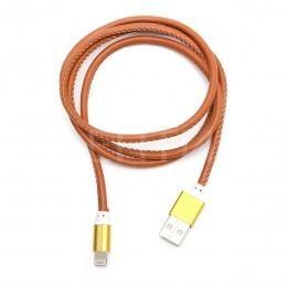 Зарядка USB Lightning кожаная для iPhone 5, 6, iPod, iPad