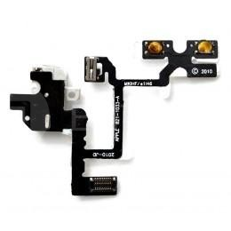 Шлейф кнопок громкости и MUTE с аудио входом для iPhone 4 белый