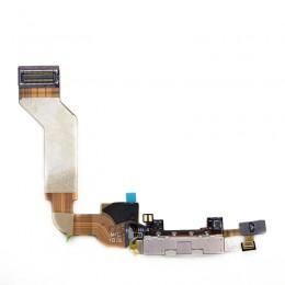 Нижний DOCK DATA шлейф зарядки и синхронизации iPhone 4S белый с микрофоном