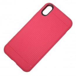 Антискользящий чехол для iPhone X противоударный розовый