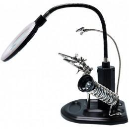 Лупа с LED подсветкой для пайки с держателем плат TE-802