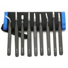 Набор металлических ESD пинцетов YF Tools 9 штук в чехле