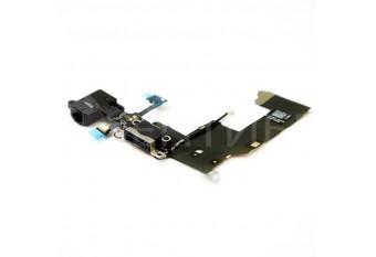 Нижний шлейф DOCK CONNECTOR для iPhone 5 c аудио разъемом и микрофоном черный
