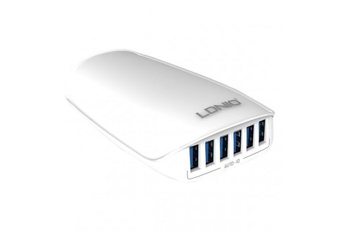 Зарядное устройство LDNIO A6573 6 USB в розетку 220В 27W