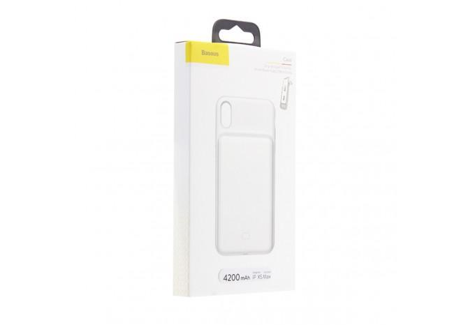 Чехол аккумулятор зарядка для iPhone XS Max 4200 mAh белый Baseus Case Liguid Silica Gel Smart Power ACAPIPH65-BJ02