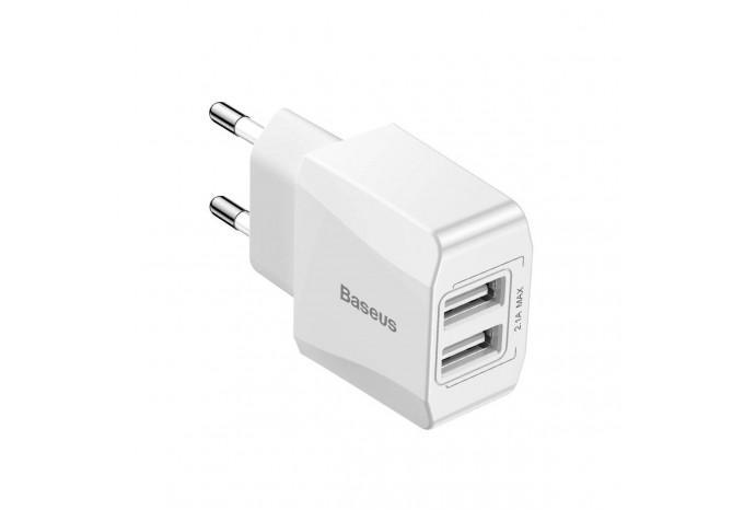Сетевой адаптер 2 USB Baseus Mini Dual USB 2.1A Белый CCALL-MN02