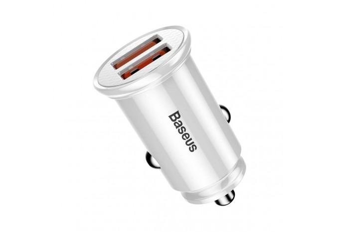 Автомобильная зарядка 30W 2 USB Baseus Car Charger Circular Plastic белая CCALL-YD02
