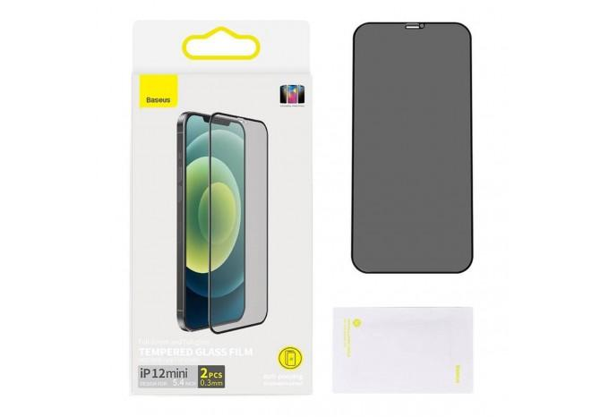 Защитное стекло антишпион для iPhone 12 mini Baseus Tempered Glass Film and Anti-spy Function 0.3 mm SGAPIPH54N-KR01