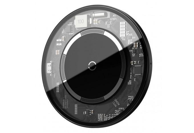 Прозрачная беспроводная зарядка для iPhone 12 Baseus Simple Magnetic Wireless Charger 15W WXJK-E02
