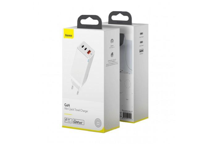 Зарядный блок 65W USB QC3.0 PD Baseus GaN Mini Quick Travel Charger CCGAN-B02