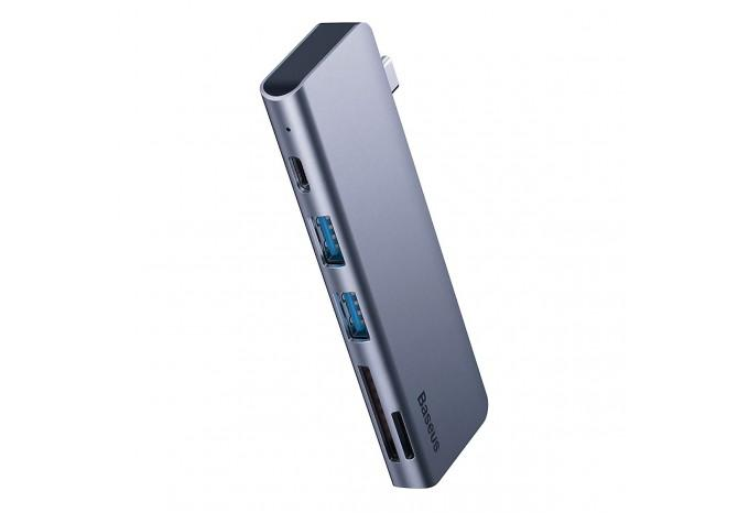 USB-C 3.0 Hub Baseus CAHUB-K0G на 2 USB, SD/microSD, зарядку Type-C