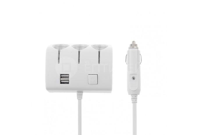 Разветвитель для прикуривателя на 3 выхода, с 2 USB и тумблером выключения