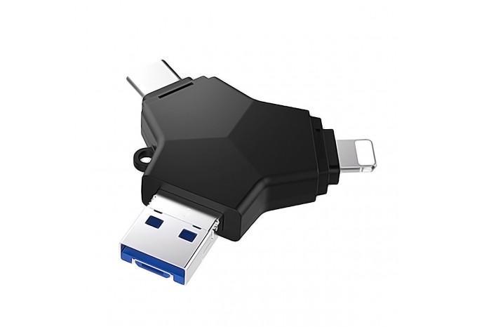 Универсальный флеш накопитель 64Гб 4 в 1 USB 3.0/microUSB/Type-C/Lightning