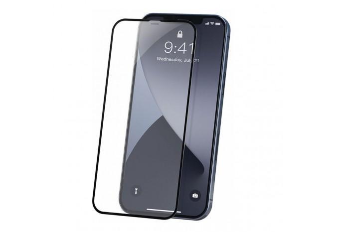 Защитное противоударное стекло для iPhone 12 mini с черной рамкой