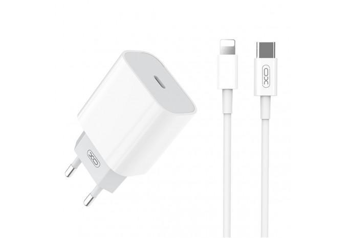 Мощный быстрый адаптер питания Power Delivery 20W XO L77 для iPhone, iPad с кабелем