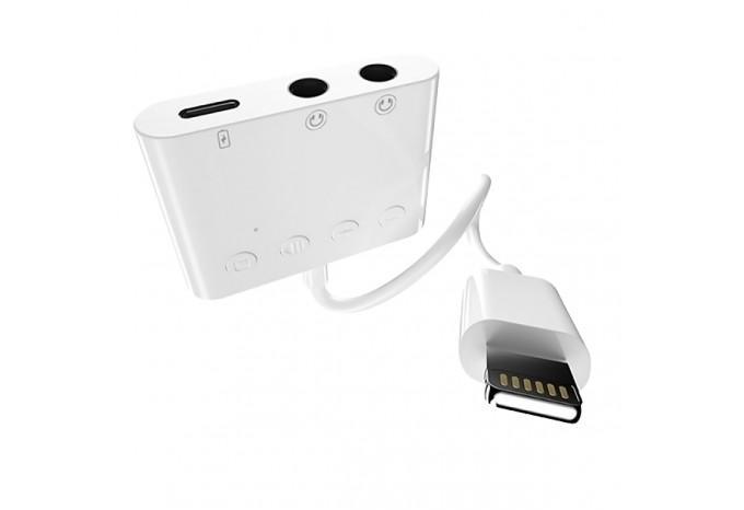 Переходник разветвитель с Lightning на Lightning для зарядки и два Jack 3,5 для iPhone