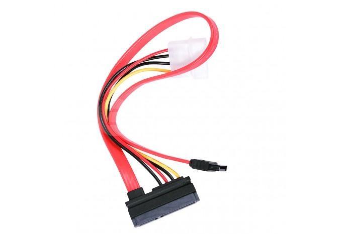 Кабель 22-pin (7+15) SATA Female to Data разъем Female + 4 pin