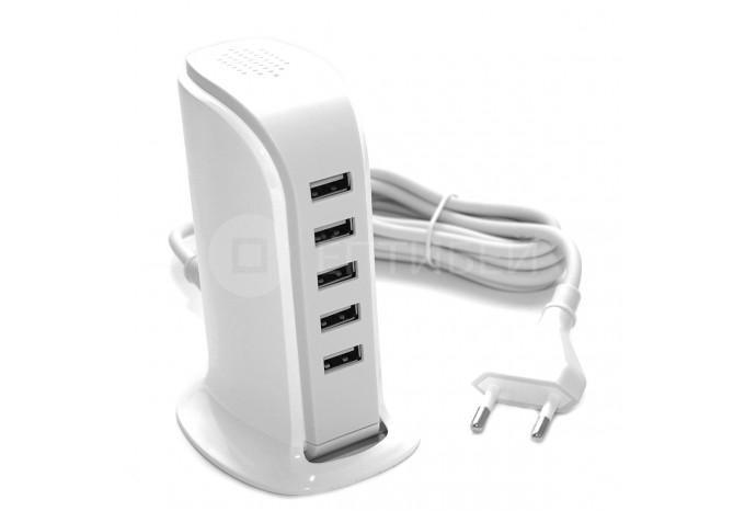Зарядное устройство 5 USB в розетку 220В 20W для iPhone, iPad, iPod, Xiaomi, Samsung