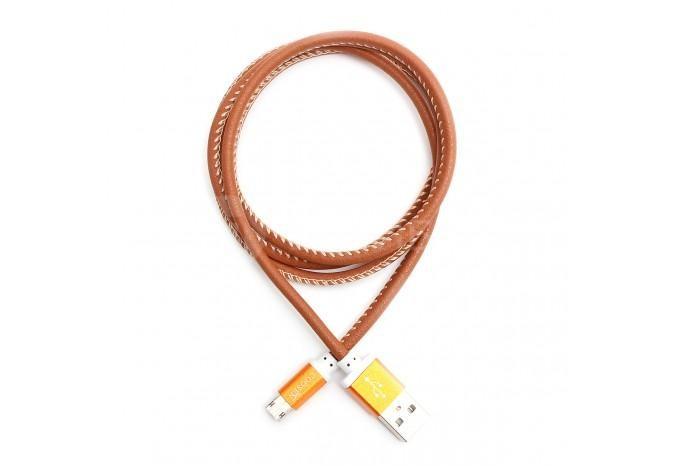 Зарядка USB MicroUSB двусторонняя кожаная для HTC, SAMSUNG