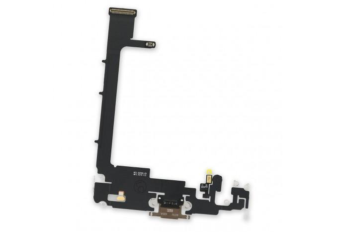 Шлейф разъема зарядки Lightning с микрофоном для iPhone 11 Pro Max золотой