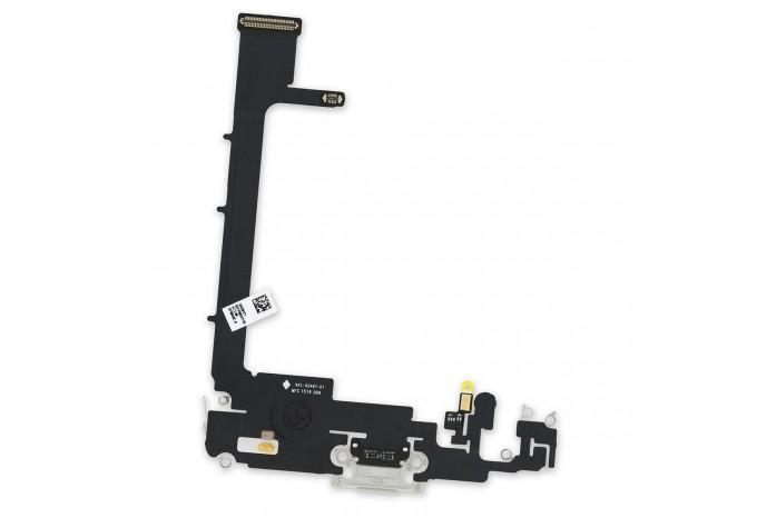 Шлейф разъема зарядки Lightning с микрофоном для iPhone 11 Pro Max белый