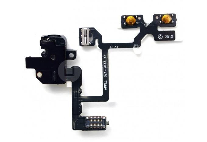 Шлейф кнопок громкости и MUTE с аудио входом для iPhone 4 черный