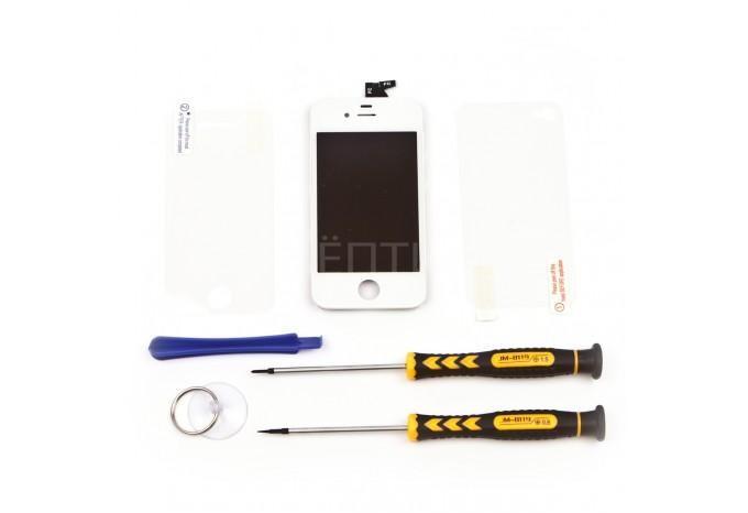 Набор для замены дисплея в iPhone 4S белый c инструментом и картой винтов