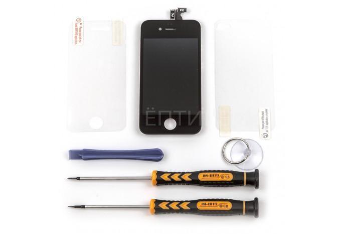 Набор для замены дисплея в iPhone 4 черный c инструментом и картой винтов