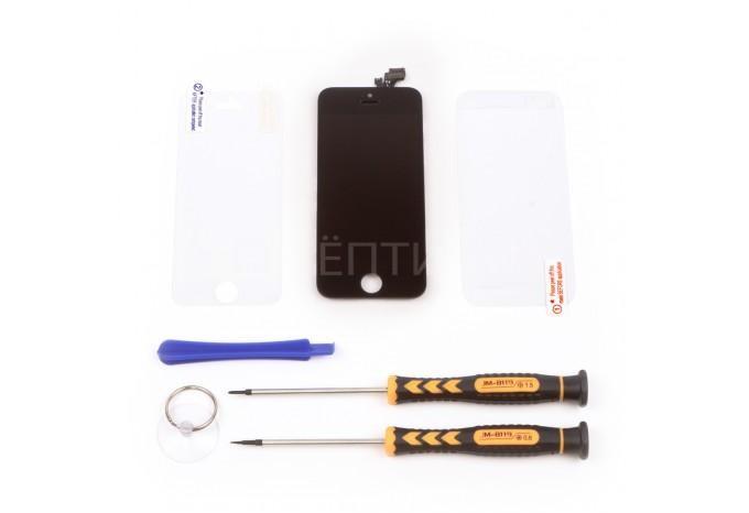 Набор для замены дисплея в iPhone 5 черный c инструментом и картой винтов