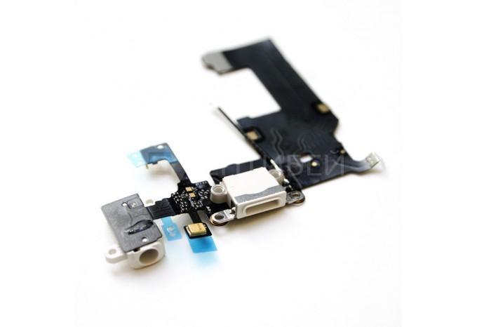 Нижний шлейф DOCK CONNECTOR для iPhone 5 c аудио разъемом и микрофоном белый