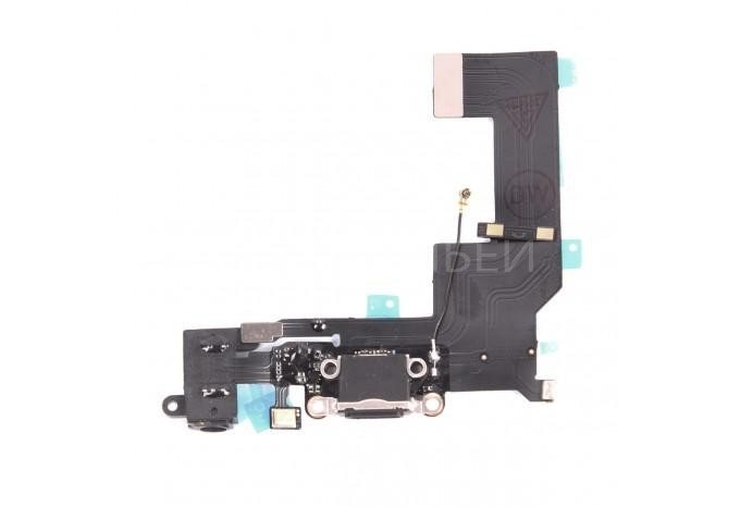 Нижний шлейф DOCK CONNECTOR для iPhone 5S c аудио разъемом и микрофоном черный