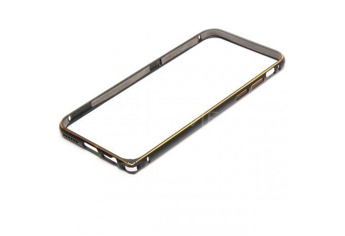 Алюминиевый противоударный бампер для iPhone 6 черно-золотой