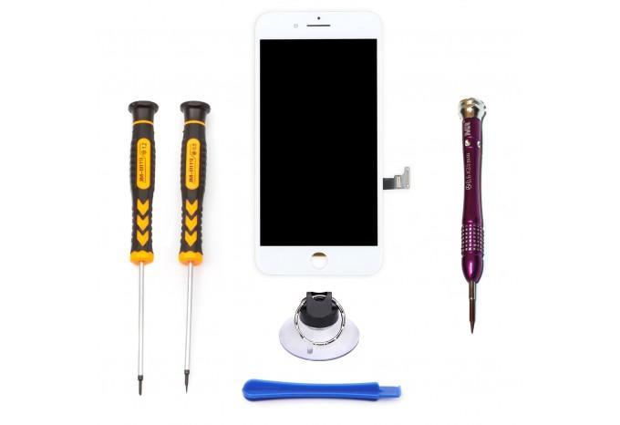 Набор для замены дисплея в iPhone 8 Plus белый c инструментом