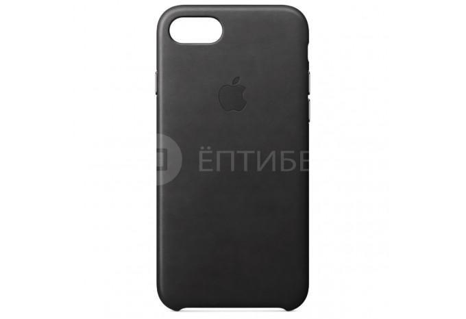 Ударопрочный кожаный чёрный чехол для iPhone 7