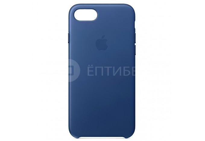 Ударопрочный кожаный синий чехол для iPhone 7