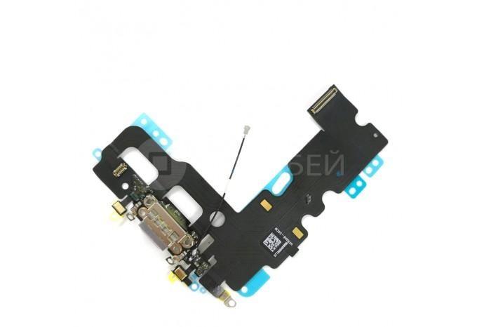 Нижний шлейф Dock коннектор с микрофоном для iPhone 7 черный
