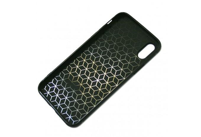 Чехол для iPhone X противоударный в кожаном стиле черный