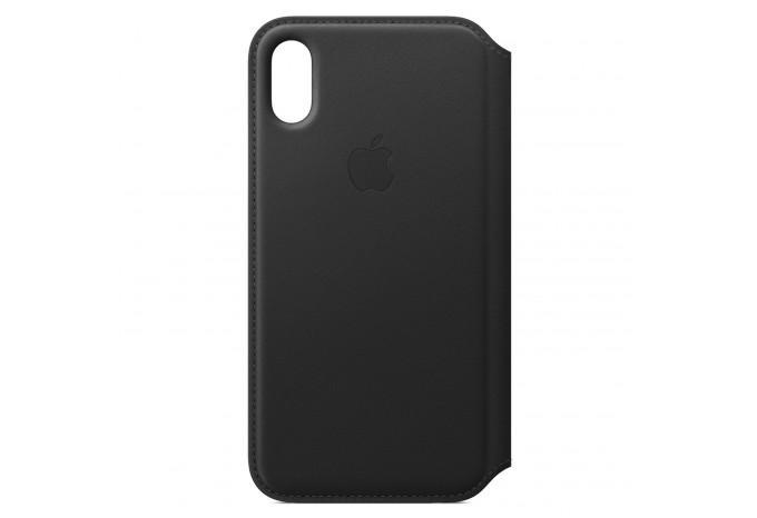Кожаный чехол - книжка с отделениями для карт и визиток для iPhone X чёрный