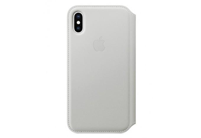 Кожаный чехол - книжка с отделениями для карт и визиток для iPhone X белый