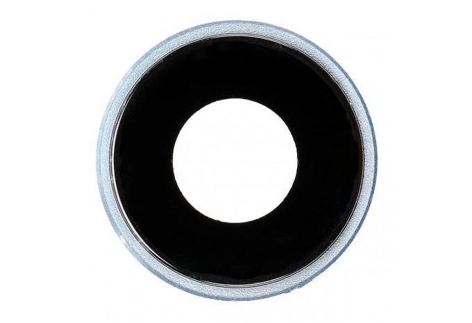 Стекло задней камеры с рамкой для iPhone XR синее